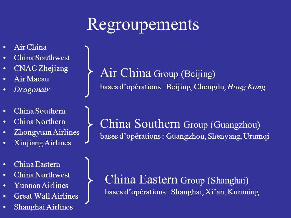 Regroupements Air China China Southwest CNAC Zhejiang Air Macau Dragonair China Southern China Northern Zhongyuan Airlines Xinjiang Airlines China Eas