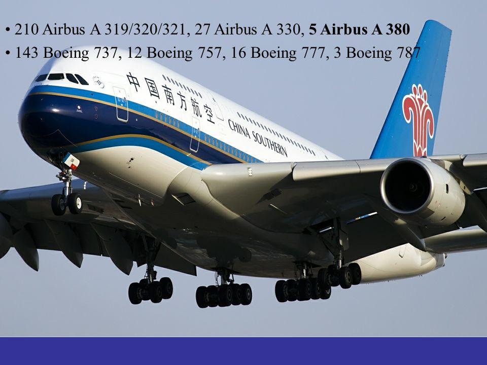 210 Airbus A 319/320/321, 27 Airbus A 330, 5 Airbus A 380 143 Boeing 737, 12 Boeing 757, 16 Boeing 777, 3 Boeing 787