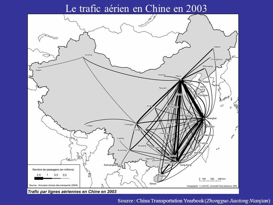 Le trafic aérien en Chine en 2003 Source : China Transportation Yearbook (Zhongguo Jiaotong Nianjian)