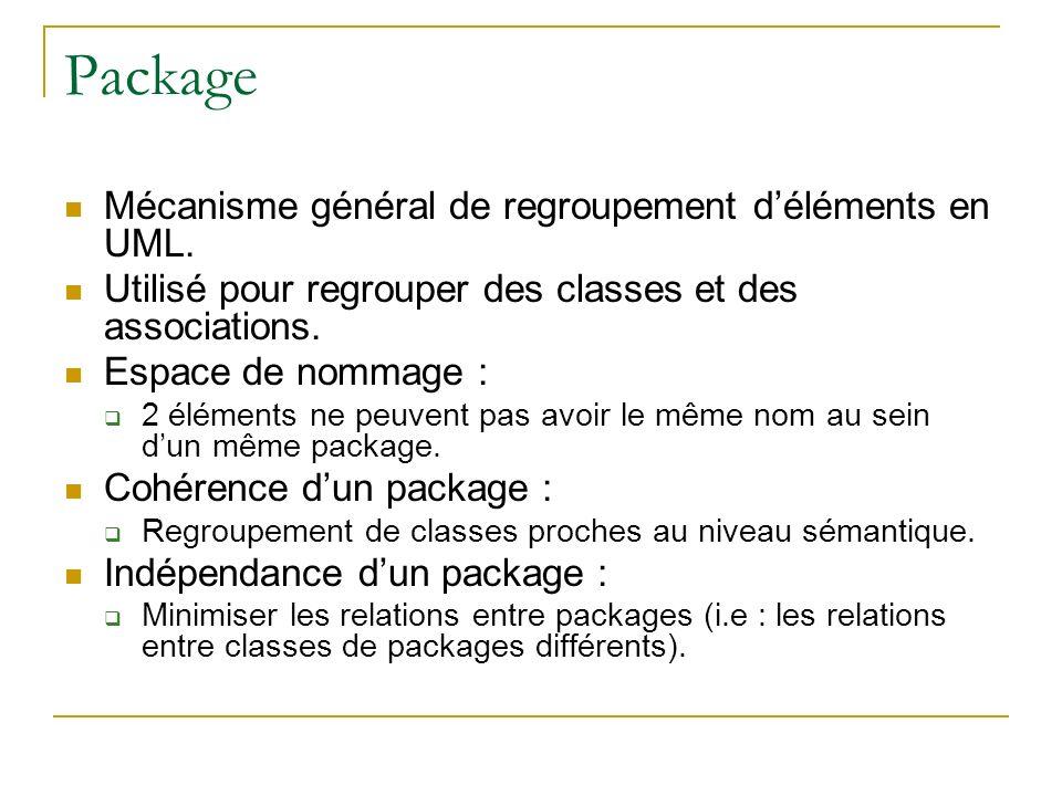 Package Mécanisme général de regroupement déléments en UML. Utilisé pour regrouper des classes et des associations. Espace de nommage : 2 éléments ne