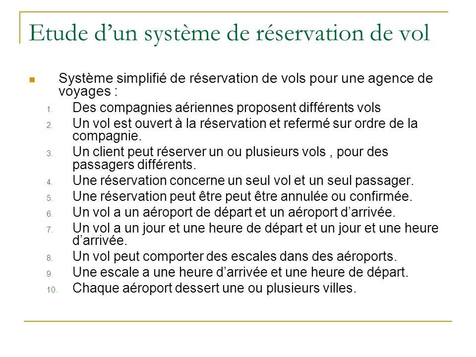 Etude dun système de réservation de vol Système simplifié de réservation de vols pour une agence de voyages : 1. Des compagnies aériennes proposent di