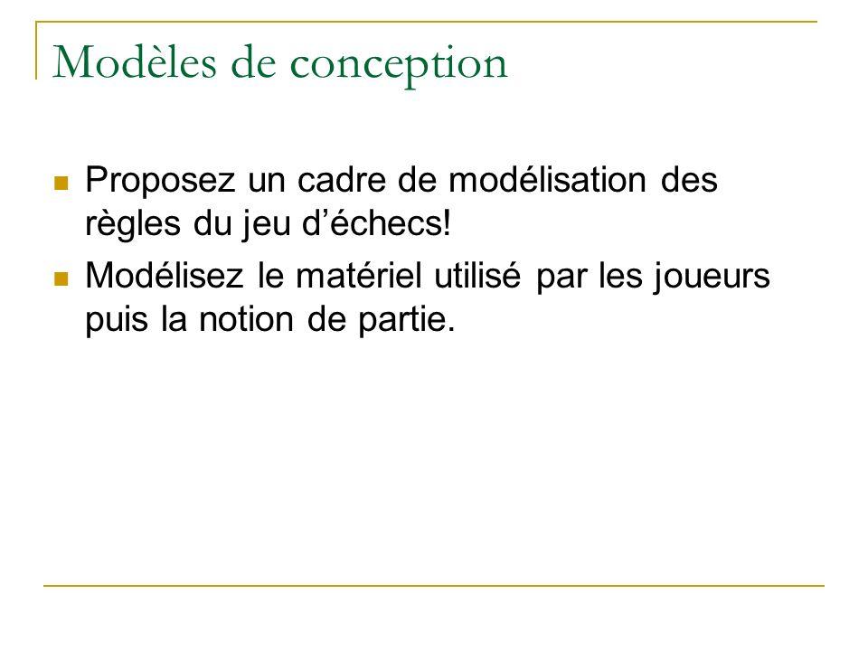 Modèles de conception Proposez un cadre de modélisation des règles du jeu déchecs! Modélisez le matériel utilisé par les joueurs puis la notion de par