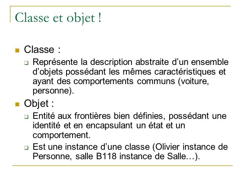 Classe et objet ! Classe : Représente la description abstraite dun ensemble dobjets possédant les mêmes caractéristiques et ayant des comportements co