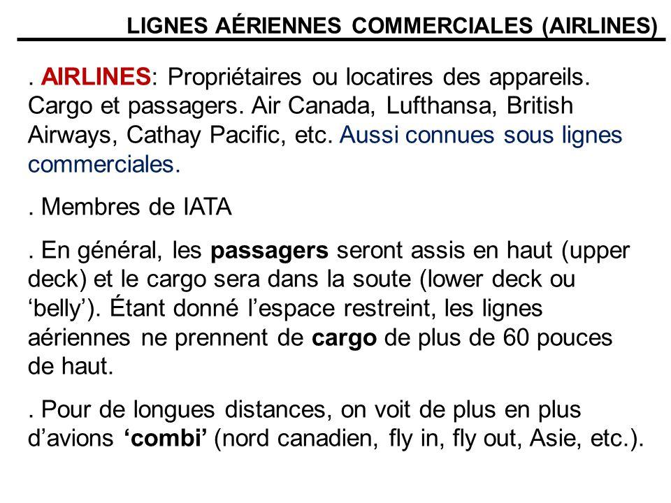 LIGNES AÉRIENNES COMMERCIALES (AIRLINES). AIRLINES: Propriétaires ou locatires des appareils. Cargo et passagers. Air Canada, Lufthansa, British Airwa
