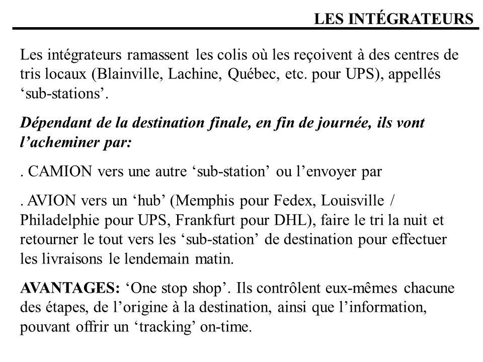 LES INTÉGRATEURS Les intégrateurs ramassent les colis où les reçoivent à des centres de tris locaux (Blainville, Lachine, Québec, etc. pour UPS), appe