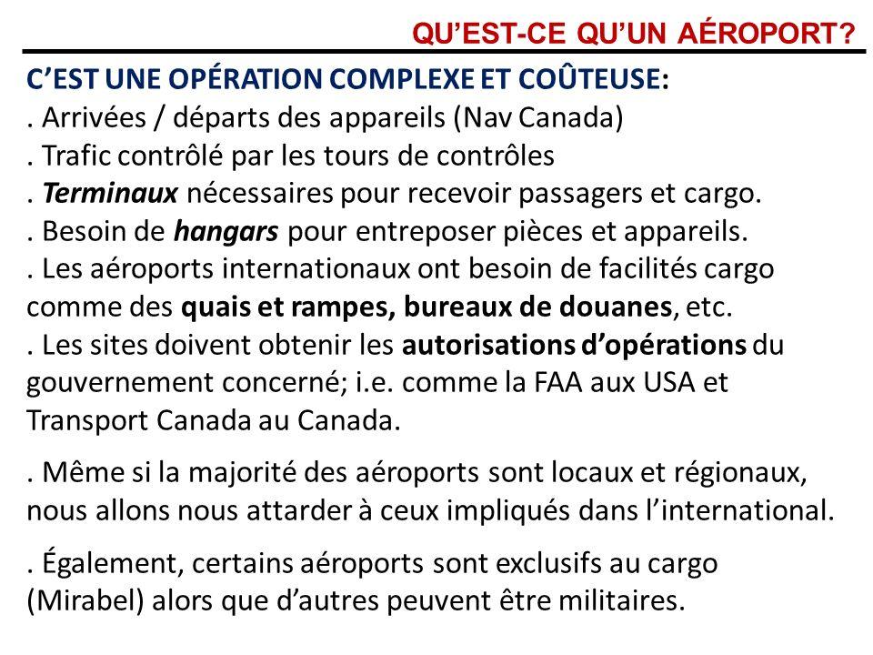 QUEST-CE QUUN AÉROPORT? : CEST UNE OPÉRATION COMPLEXE ET COÛTEUSE:. Arrivées / départs des appareils (Nav Canada). Trafic contrôlé par les tours de co