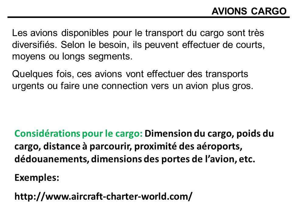 AVIONS CARGO Les avions disponibles pour le transport du cargo sont très diversifiés. Selon le besoin, ils peuvent effectuer de courts, moyens ou long