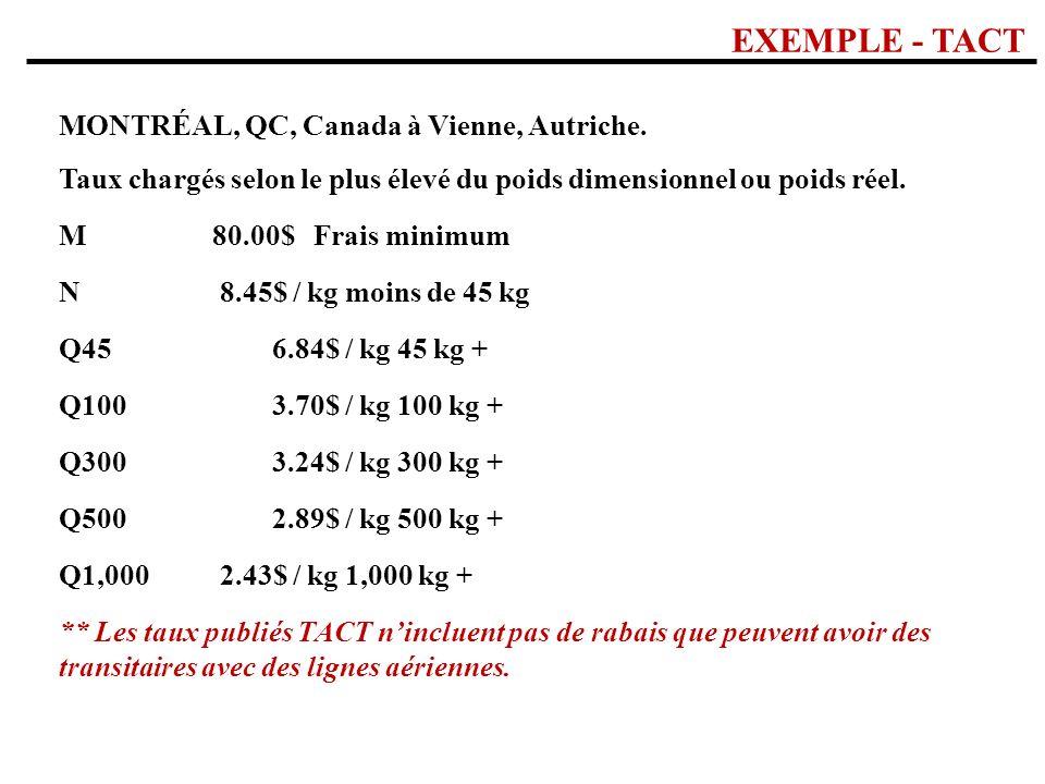 EXEMPLE - TACT MONTRÉAL, QC, Canada à Vienne, Autriche. Taux chargés selon le plus élevé du poids dimensionnel ou poids réel. M80.00$ Frais minimum N