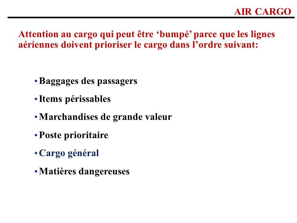AIR CARGO Attention au cargo qui peut être bumpé parce que les lignes aériennes doivent prioriser le cargo dans lordre suivant: PRIORITÉS: Baggages de