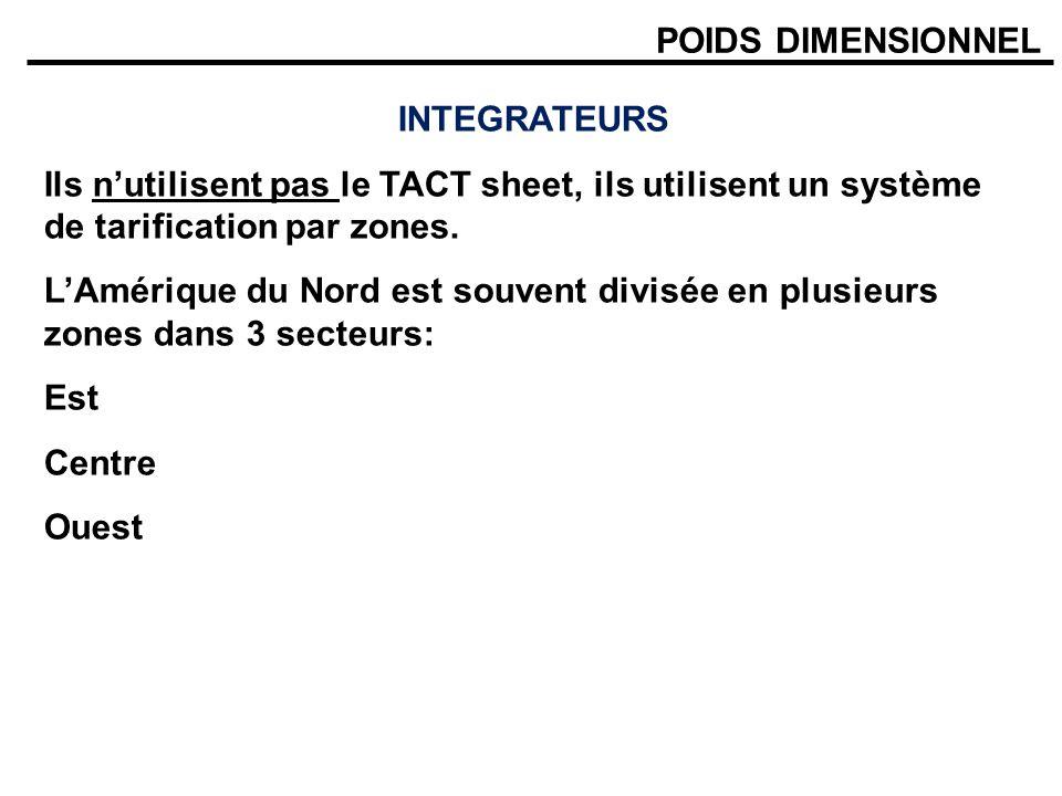 POIDS DIMENSIONNEL INTEGRATEURS Ils nutilisent pas le TACT sheet, ils utilisent un système de tarification par zones. LAmérique du Nord est souvent di