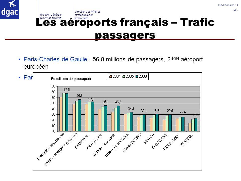 - 4 - lundi 5 mai 2014 direction générale de lAviation civile direction des Affaires stratégiques et techniques Les aéroports français – Trafic passag