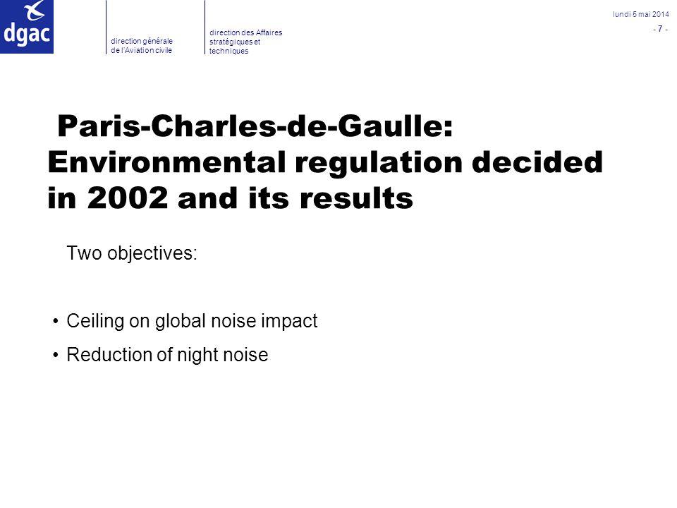 - 7 - lundi 5 mai 2014 direction générale de lAviation civile direction des Affaires stratégiques et techniques Paris-Charles-de-Gaulle: Environmental