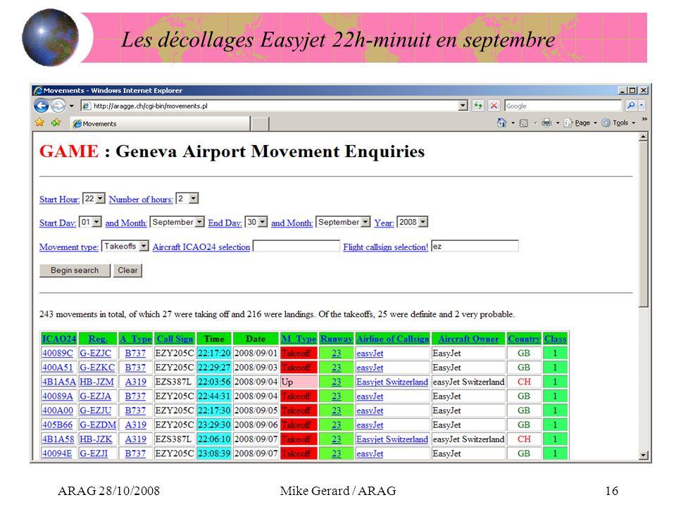 ARAG 28/10/2008Mike Gerard / ARAG16 Les décollages Easyjet 22h-minuit en septembre