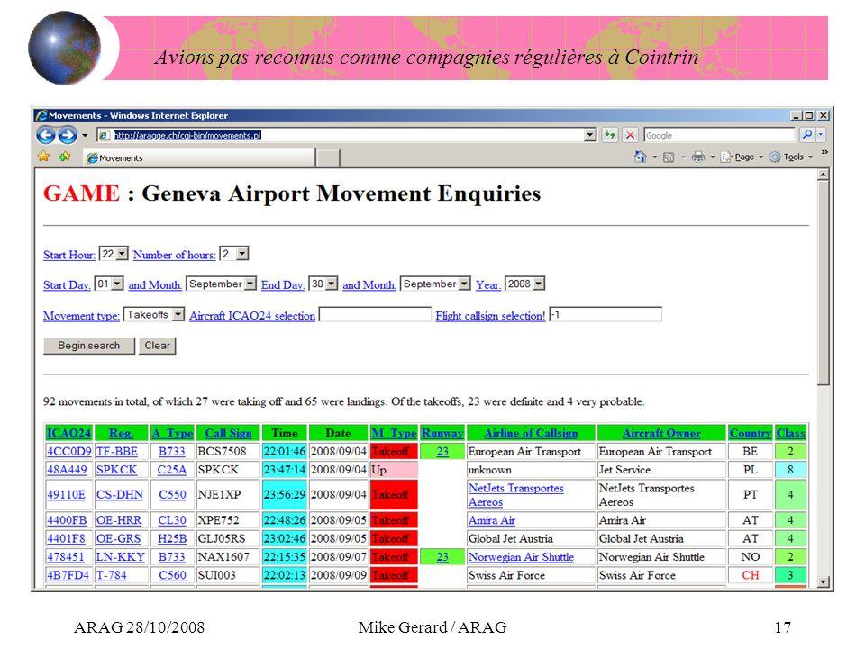 ARAG 28/10/2008Mike Gerard / ARAG17 Avions pas reconnus comme compagnies régulières à Cointrin