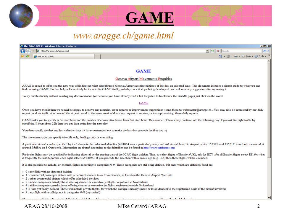 ARAG 28/10/2008Mike Gerard / ARAG2 www.aragge.ch/game.html GAME