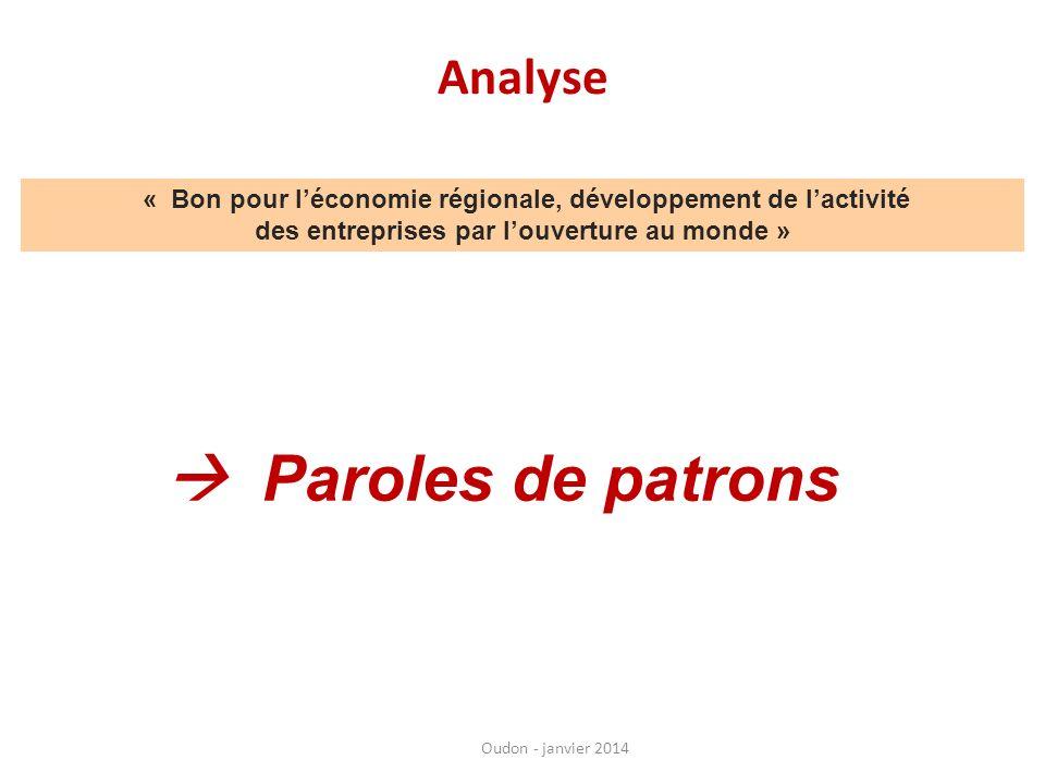 Analyse Oudon - janvier 2014 « Bon pour léconomie régionale, développement de lactivité des entreprises par louverture au monde » Paroles de patrons