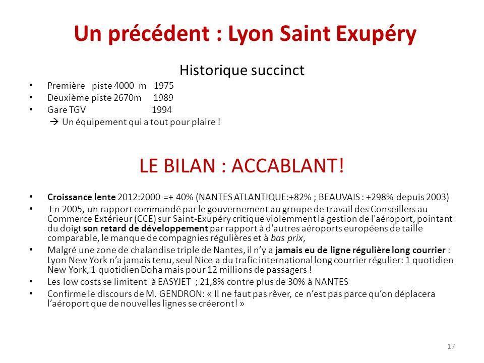 Un précédent : Lyon Saint Exupéry Historique succinct Première piste 4000 m 1975 Deuxième piste 2670m 1989 Gare TGV 1994 Un équipement qui a tout pour plaire .