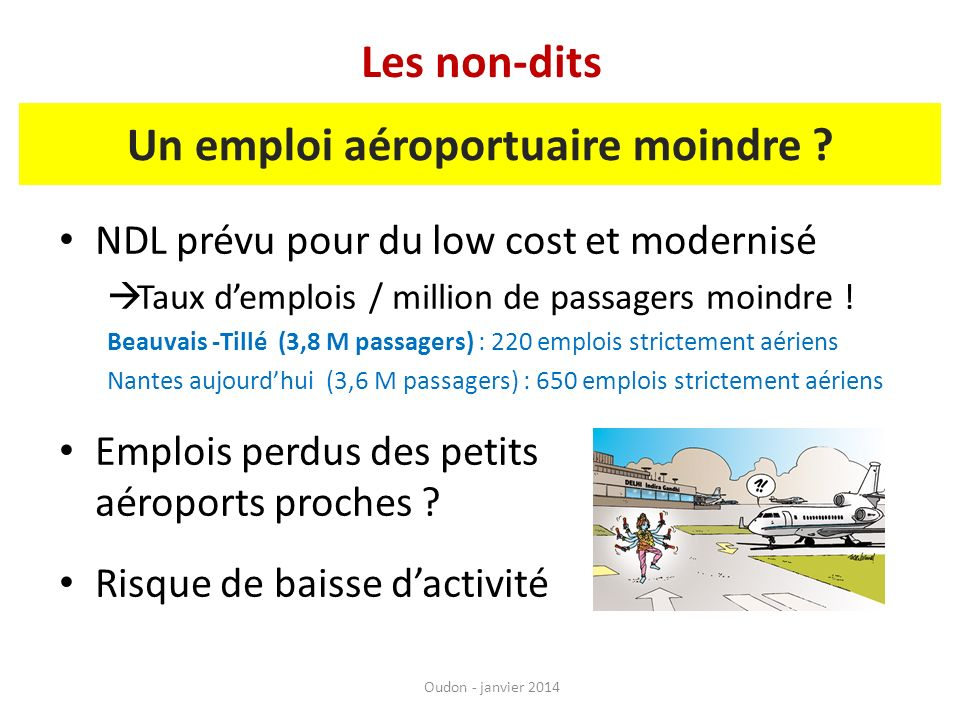 NDL prévu pour du low cost et modernisé Taux demplois / million de passagers moindre ! Beauvais -Tillé (3,8 M passagers) : 220 emplois strictement aér