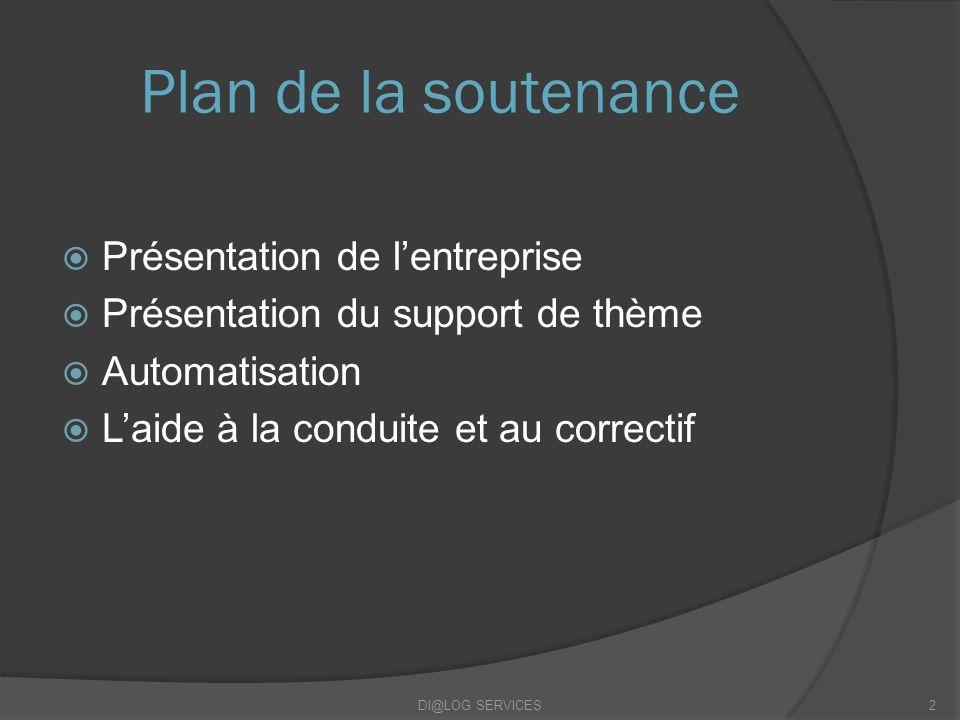 Plan de la soutenance Présentation de lentreprise Présentation du support de thème Automatisation Laide à la conduite et au correctif DI@LOG SERVICES2