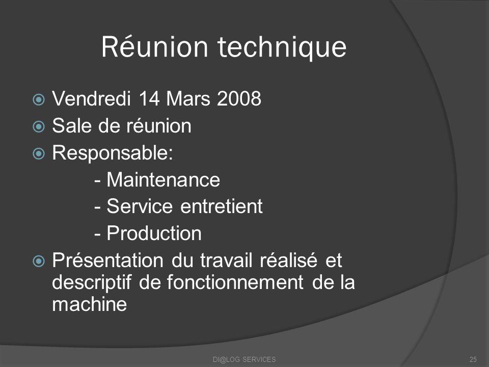 Réunion technique Vendredi 14 Mars 2008 Sale de réunion Responsable: - Maintenance - Service entretient - Production Présentation du travail réalisé et descriptif de fonctionnement de la machine DI@LOG SERVICES25