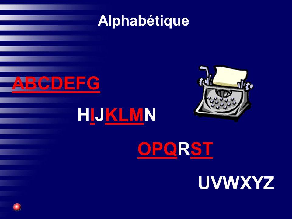 Alphabétique ABCDEFG HIJKLMN OPQRST UVWXYZ