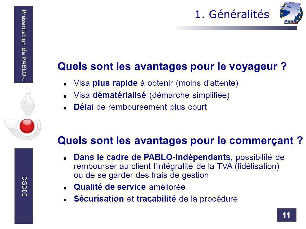 11 Présentation de PABLO-I DGDDI Quels sont les avantages pour le voyageur ? Visa plus rapide à obtenir (moins d'attente) Visa dématérialisé (démarche