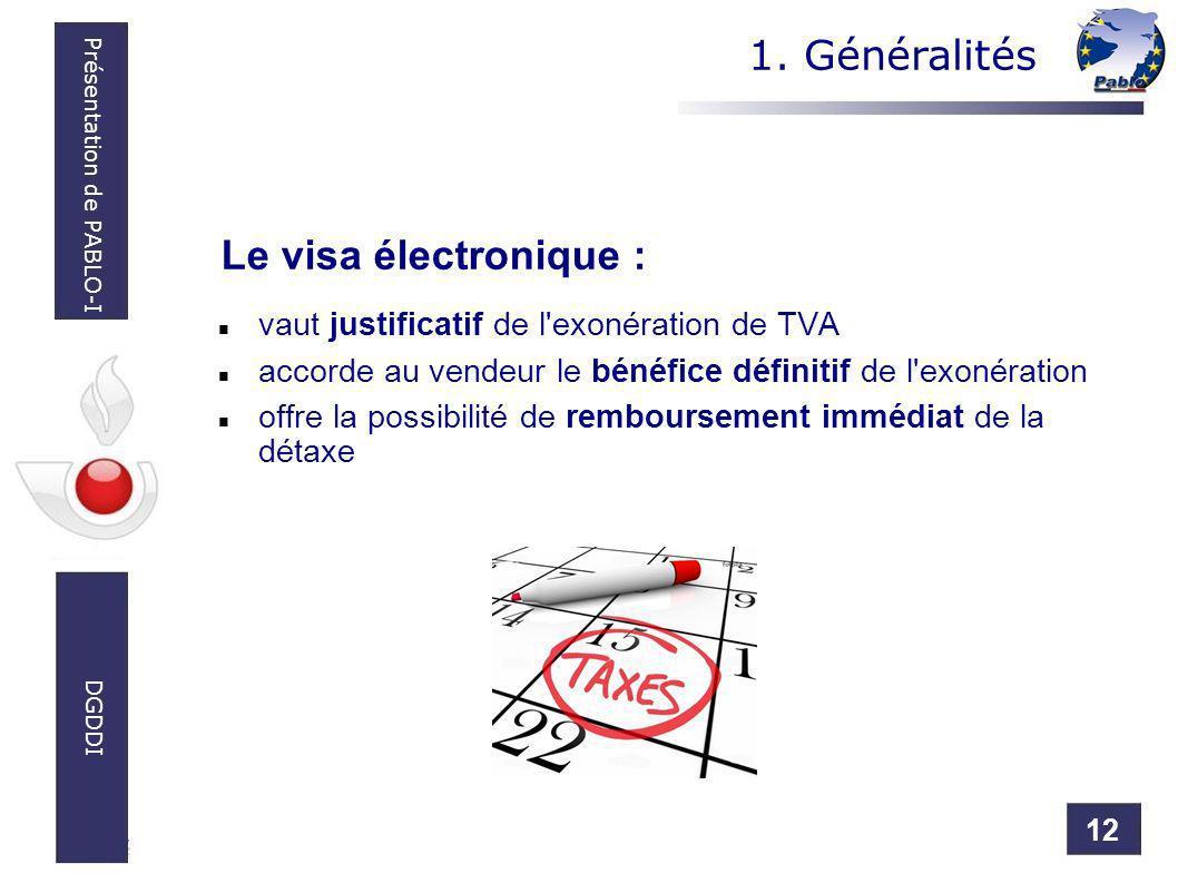 12 Présentation de PABLO-I DGDDI vaut justificatif de l'exonération de TVA accorde au vendeur le bénéfice définitif de l'exonération offre la possibil