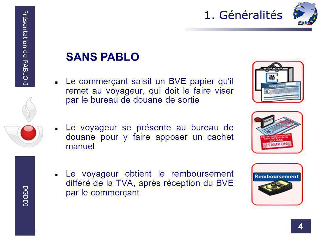 4 Présentation de PABLO-I DGDDI Le commerçant saisit un BVE papier qu'il remet au voyageur, qui doit le faire viser par le bureau de douane de sortie