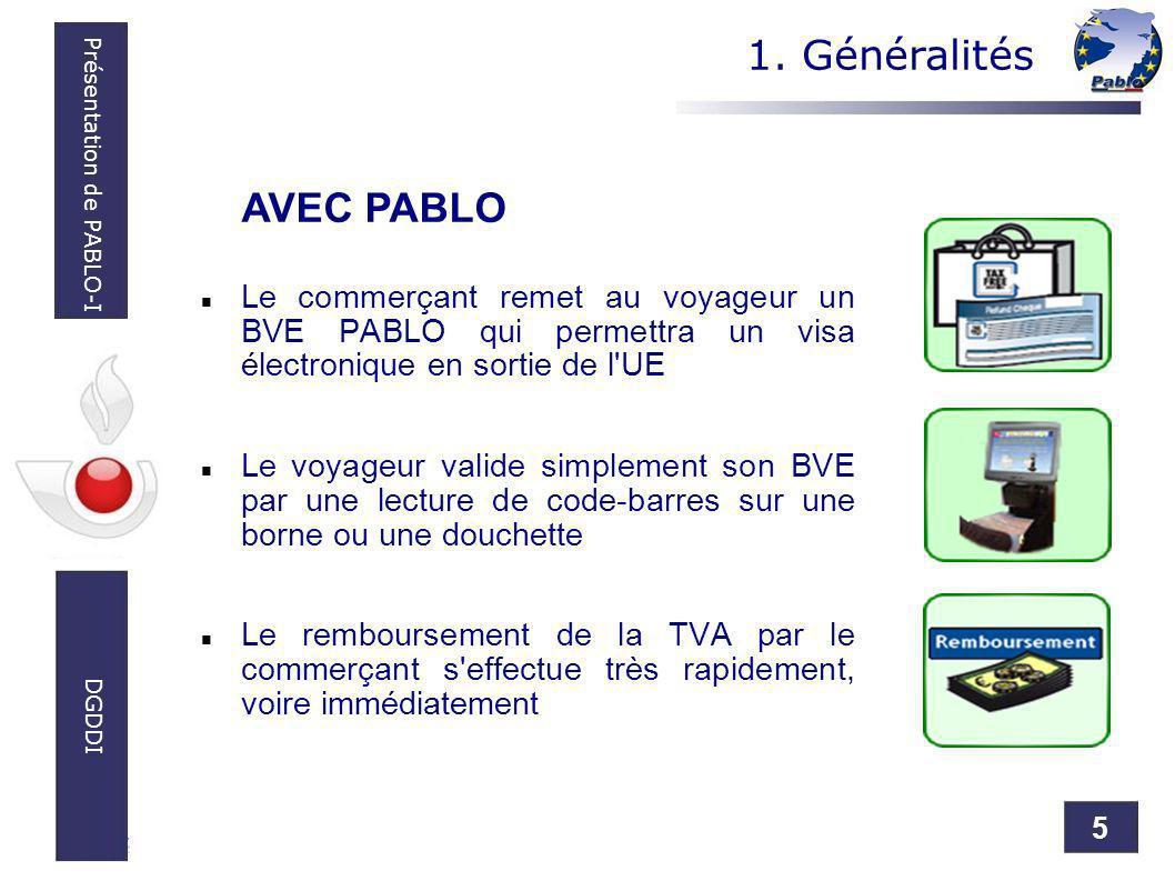 5 Présentation de PABLO-I DGDDI Le commerçant remet au voyageur un BVE PABLO qui permettra un visa électronique en sortie de l'UE Le voyageur valide s