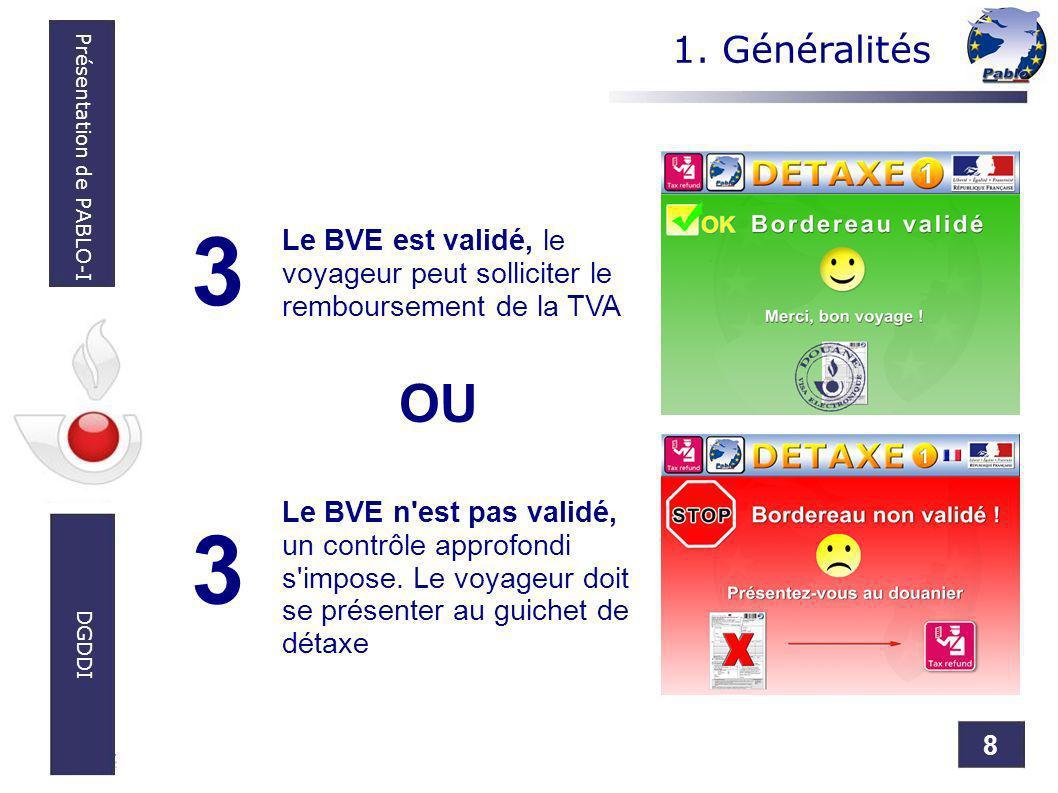 8 Présentation de PABLO-I DGDDI Le BVE n'est pas validé, un contrôle approfondi s'impose. Le voyageur doit se présenter au guichet de détaxe 3 Le BVE