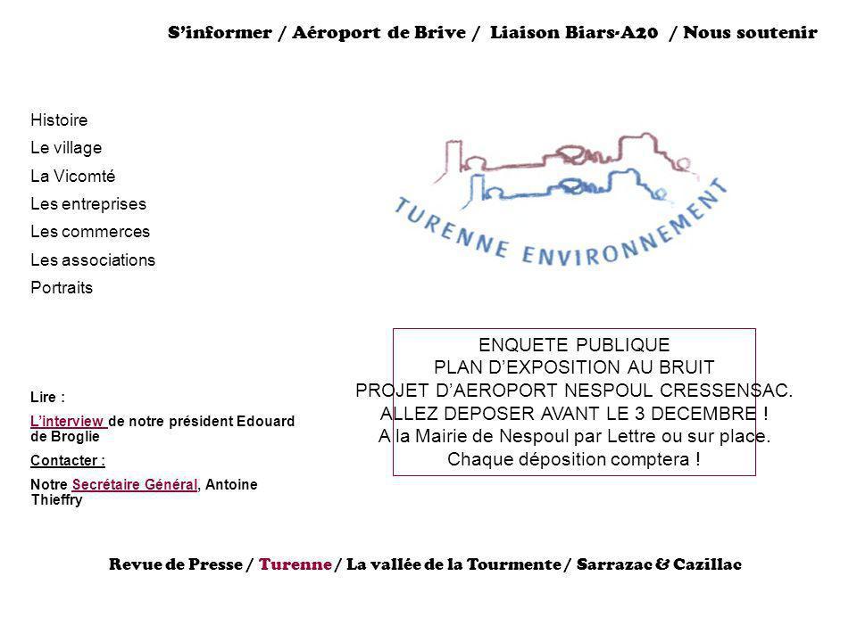 Sinformer / Aéroport de Brive / Liaison Biars-A20 / Nous soutenir Histoire Le village La Vicomté Les entreprises Les commerces Les associations Portra