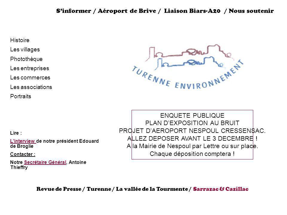 Sinformer / Aéroport de Brive / Liaison Biars-A20 / Nous soutenir Histoire Les villages Photothèque Les entreprises Les commerces Les associations Por