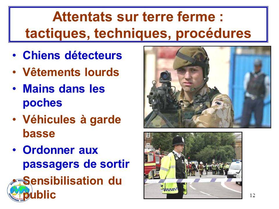 12 Chiens détecteurs Vêtements lourds Mains dans les poches Véhicules à garde basse Ordonner aux passagers de sortir Sensibilisation du public Attenta