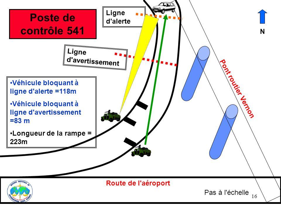 16 Route de l'aéroport Pont routier Vernon Ligne d'alerte Ligne d'avertissement Véhicule bloquant à ligne d'alerte =118m Véhicule bloquant à ligne d'a