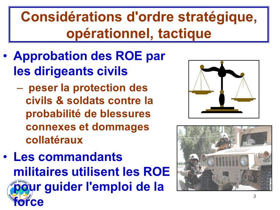 4 Les ROE définissent : –Quand, où, quel degré de force –Qui est autorisé à prendre la décision –d accomplir la mission, de se défendre & défendre les autres –& minimiser le « tir ami » Considérations d ordre stratégique, opérationnel, tactique