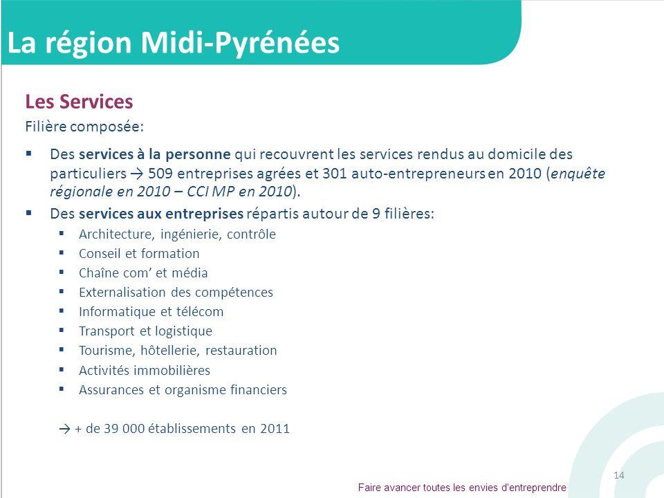 14 Les Services Filière composée: Des services à la personne qui recouvrent les services rendus au domicile des particuliers 509 entreprises agrées et