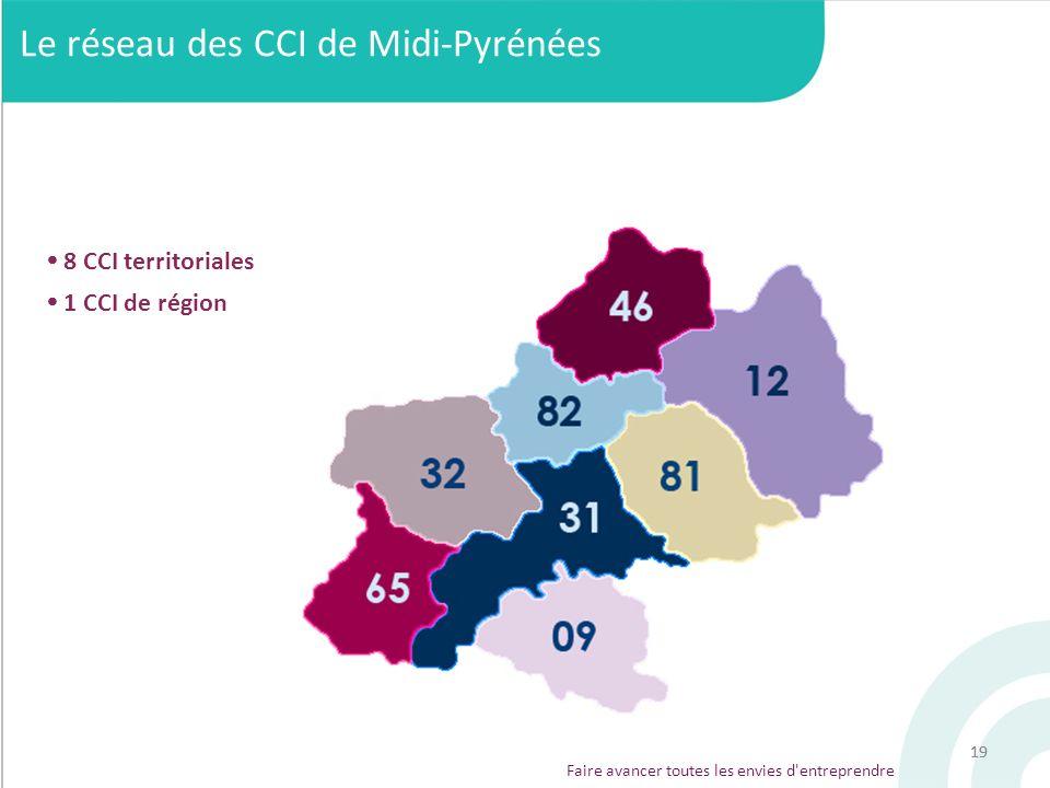 19 Faire avancer toutes les envies d'entreprendre Le réseau des CCI de Midi-Pyrénées 8 CCI territoriales 1 CCI de région