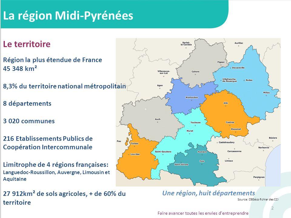 2 La région Midi-Pyrénées Le territoire Région la plus étendue de France 45 348 km² 8,3% du territoire national métropolitain 8 départements 3 020 com