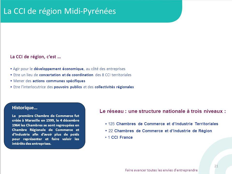 21 Faire avancer toutes les envies d'entreprendre Le réseau : une structure nationale à trois niveaux : 125 Chambres de Commerce et dIndustrie Territo