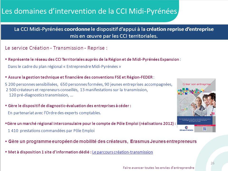 Le service Création - Transmission - Reprise : Représente le réseau des CCI Territoriales auprès de la Région et de Midi-Pyrénées Expansion : Dans le