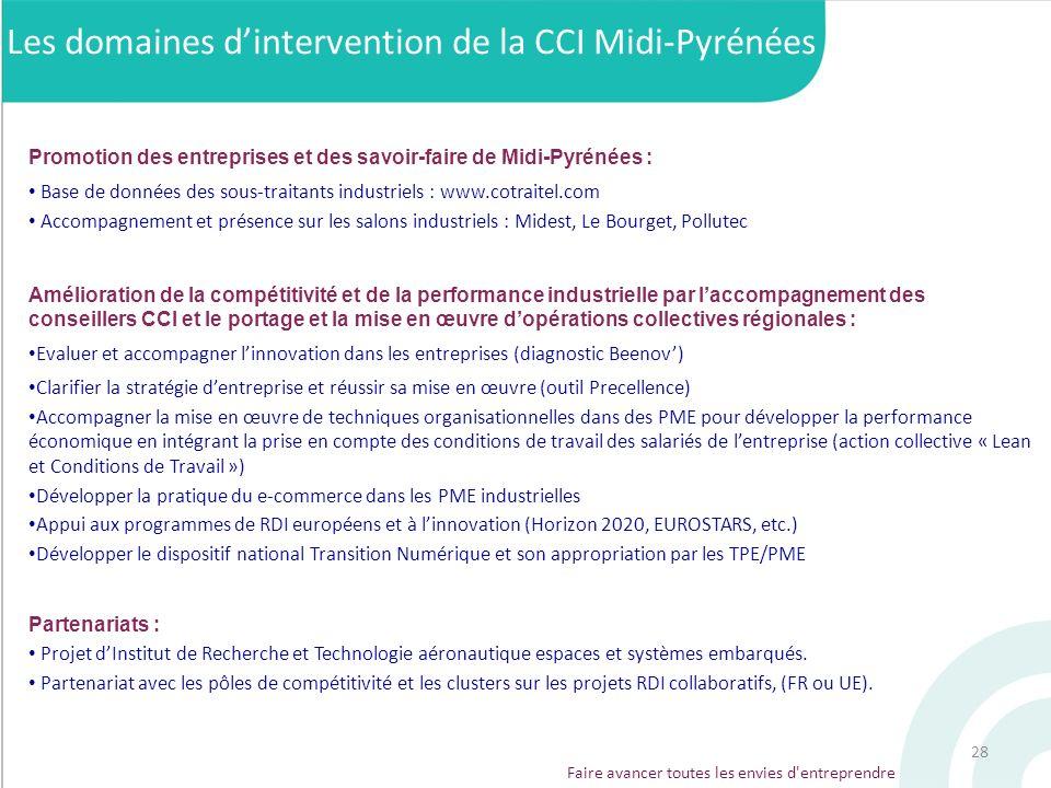28 Faire avancer toutes les envies d'entreprendre Les domaines dintervention de la CCI Midi-Pyrénées Promotion des entreprises et des savoir-faire de