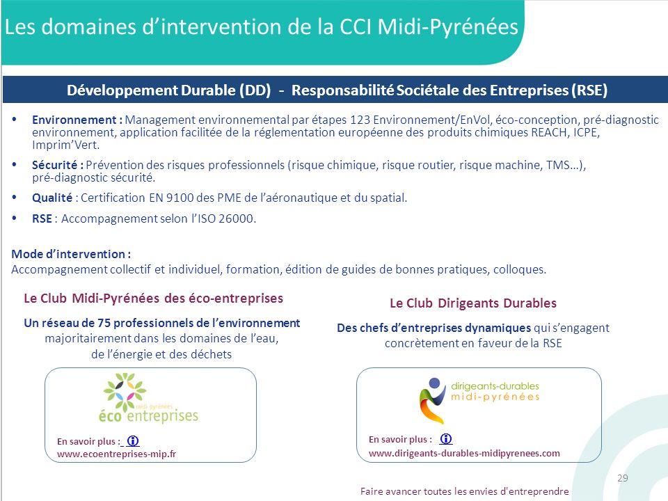 29 Faire avancer toutes les envies d'entreprendre En savoir plus : www.ecoentreprises-mip.fr Environnement : Management environnemental par étapes 123