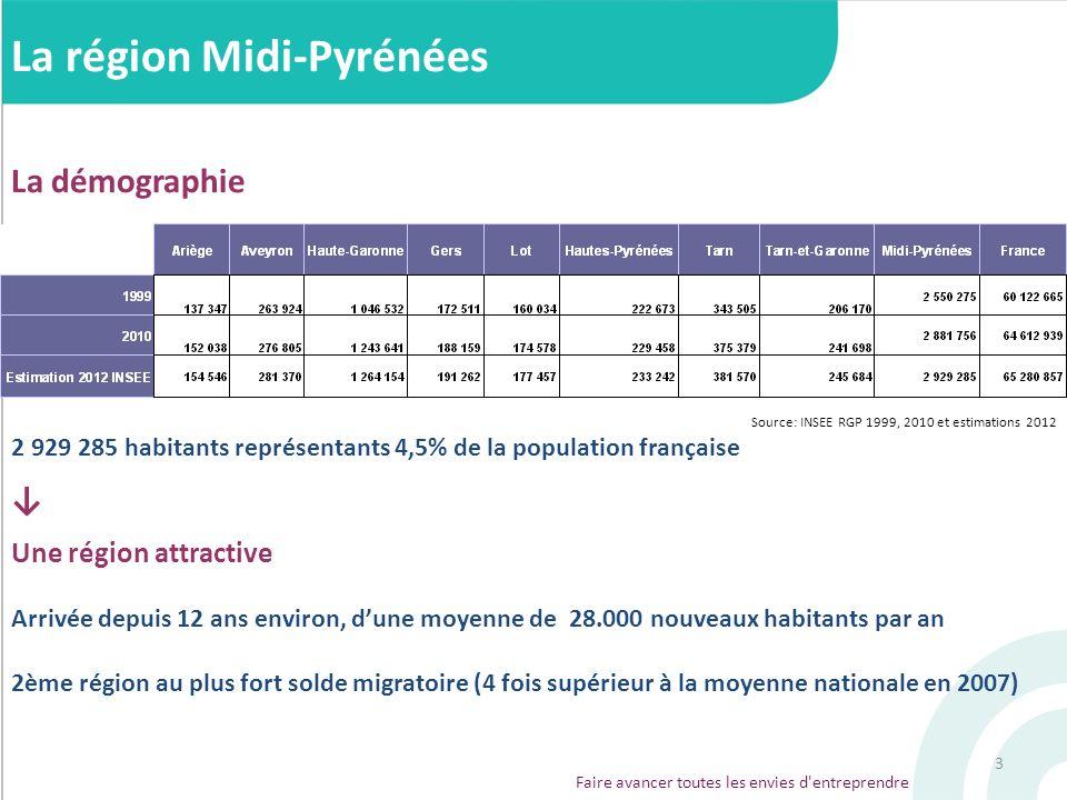 3 La région Midi-Pyrénées La démographie Source: INSEE RGP 1999, 2010 et estimations 2012 2 929 285 habitants représentants 4,5% de la population fran