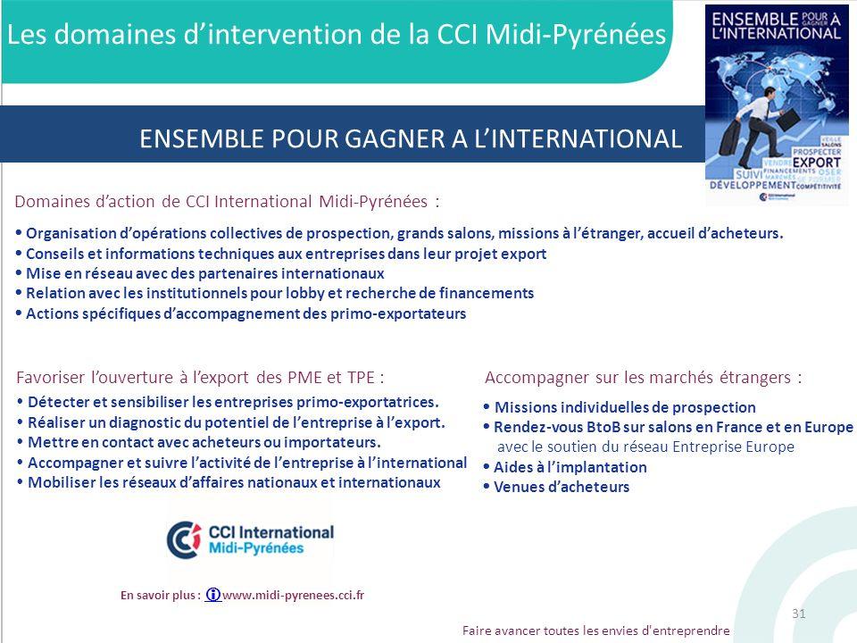 Faire avancer toutes les envies d'entreprendre Accompagner sur les marchés étrangers : Les domaines dintervention de la CCI Midi-Pyrénées Détecter et