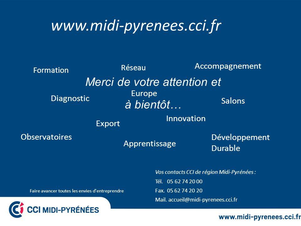 Faire avancer toutes les envies d'entreprendre Merci de votre attention et à bientôt… Vos contacts CCI de région Midi-Pyrénées : Tél. 05 62 74 20 00 F