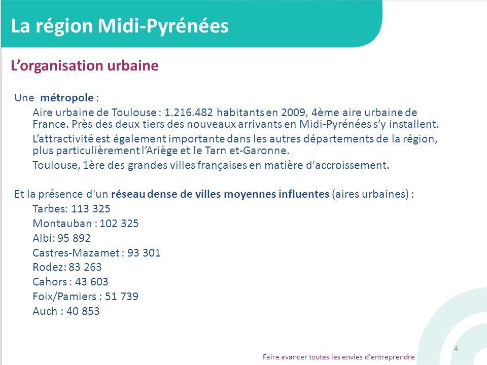 4 Une métropole : Aire urbaine de Toulouse : 1.216.482 habitants en 2009, 4ème aire urbaine de France. Près des deux tiers des nouveaux arrivants en M