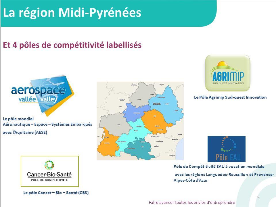 9 La région Midi-Pyrénées Et 4 pôles de compétitivité labellisés Le pôle mondial Aéronautique – Espace – Systèmes Embarqués avec lAquitaine (AESE) Le