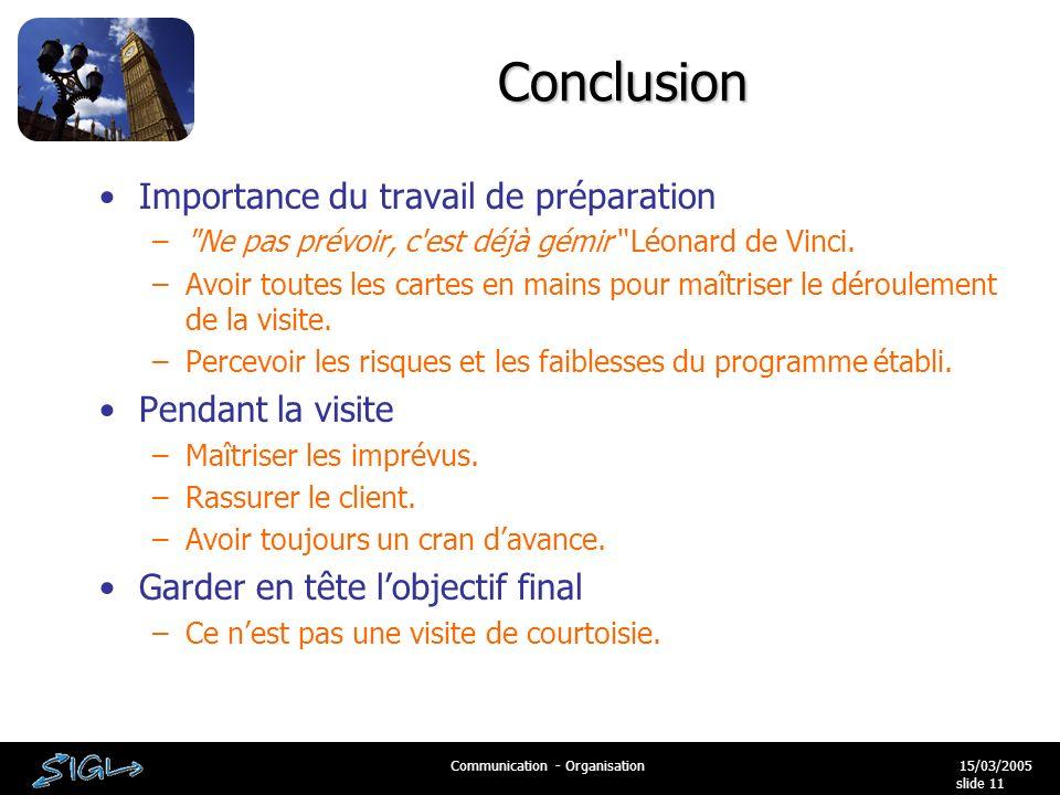 15/03/2005Communication - Organisation slide 11 Conclusion Importance du travail de préparation – Ne pas prévoir, c est déjà gémir Léonard de Vinci.