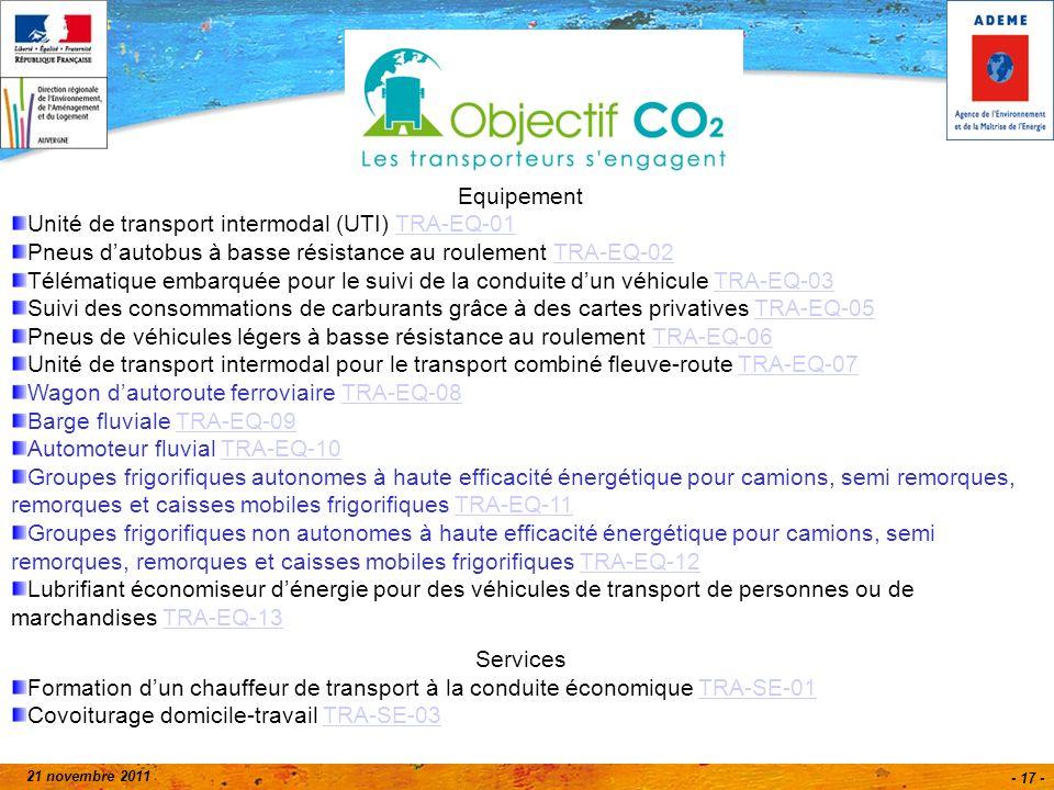 21 novembre 2011 - 17 - Equipement Unité de transport intermodal (UTI) TRA-EQ-01TRA-EQ-01 Pneus dautobus à basse résistance au roulement TRA-EQ-02TRA-EQ-02 Télématique embarquée pour le suivi de la conduite dun véhicule TRA-EQ-03TRA-EQ-03 Suivi des consommations de carburants grâce à des cartes privatives TRA-EQ-05TRA-EQ-05 Pneus de véhicules légers à basse résistance au roulement TRA-EQ-06TRA-EQ-06 Unité de transport intermodal pour le transport combiné fleuve-route TRA-EQ-07TRA-EQ-07 Wagon dautoroute ferroviaire TRA-EQ-08TRA-EQ-08 Barge fluviale TRA-EQ-09TRA-EQ-09 Automoteur fluvial TRA-EQ-10TRA-EQ-10 Groupes frigorifiques autonomes à haute efficacité énergétique pour camions, semi remorques, remorques et caisses mobiles frigorifiques TRA-EQ-11TRA-EQ-11 Groupes frigorifiques non autonomes à haute efficacité énergétique pour camions, semi remorques, remorques et caisses mobiles frigorifiques TRA-EQ-12TRA-EQ-12 Lubrifiant économiseur dénergie pour des véhicules de transport de personnes ou de marchandises TRA-EQ-13TRA-EQ-13 Services Formation dun chauffeur de transport à la conduite économique TRA-SE-01TRA-SE-01 Covoiturage domicile-travail TRA-SE-03TRA-SE-03