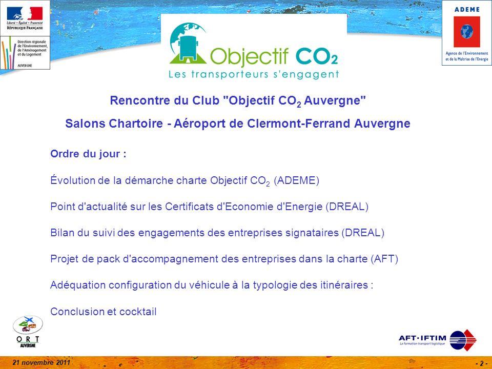 21 novembre 2011 - 13 - Point dactualité sur les Certificats dEconomie dEnergie (CEE)